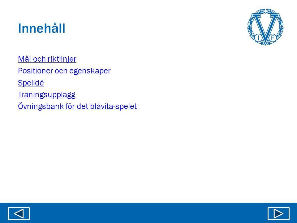 Innehåll Mål och riktlinjer Positioner och egenskaper Spelidé Träningsupplägg Övningsbank för det blåvita-spelet