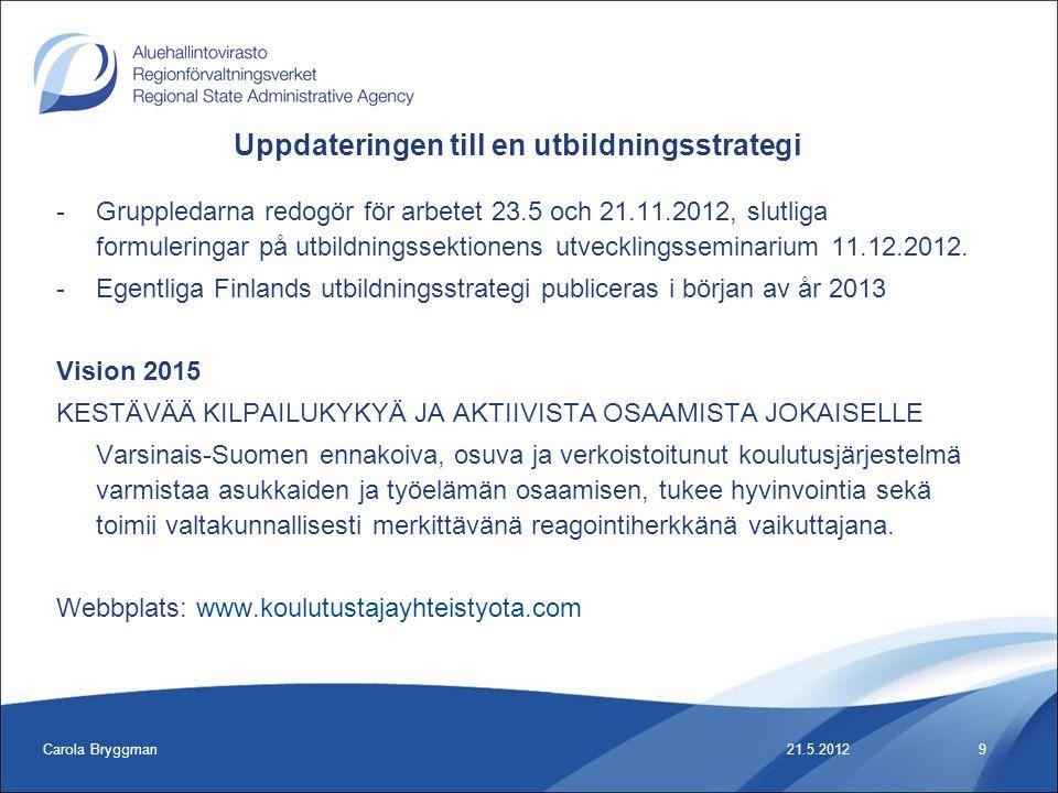 Carola Bryggman10 -Inleda med en SWOT-analys av verksamhetsmiljön, svenska särdrag och behov -Mötestidtabell och plats: -15.6 kl 9 – 12, CLL -28.8 kl 9 – 12, Åbo yrkesinstitut -11.9 kl 9 – 12, CLL -10.10 kl 9 – 12 -13.11 kl 9 - 12 21.5.2012 Uppdateringen till en utbildningsstrategi