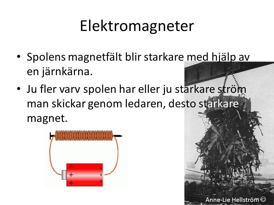 Elektromagneter • Spolens magnetfält blir starkare med hjälp av en järnkärna. • Ju fler varv spolen har eller ju starkare ström man skickar genom leda