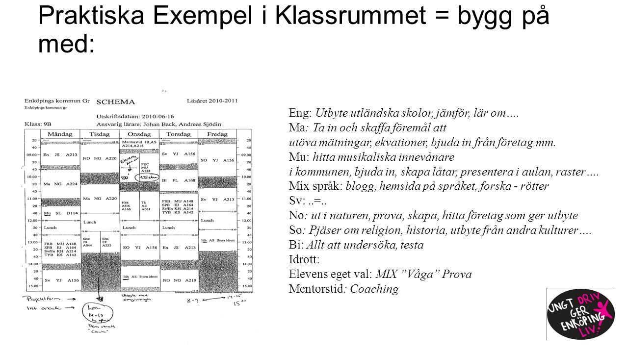 Praktiska Exempel i Klassrummet = bygg på med: Eng: Utbyte utländska skolor, jämför, lär om….