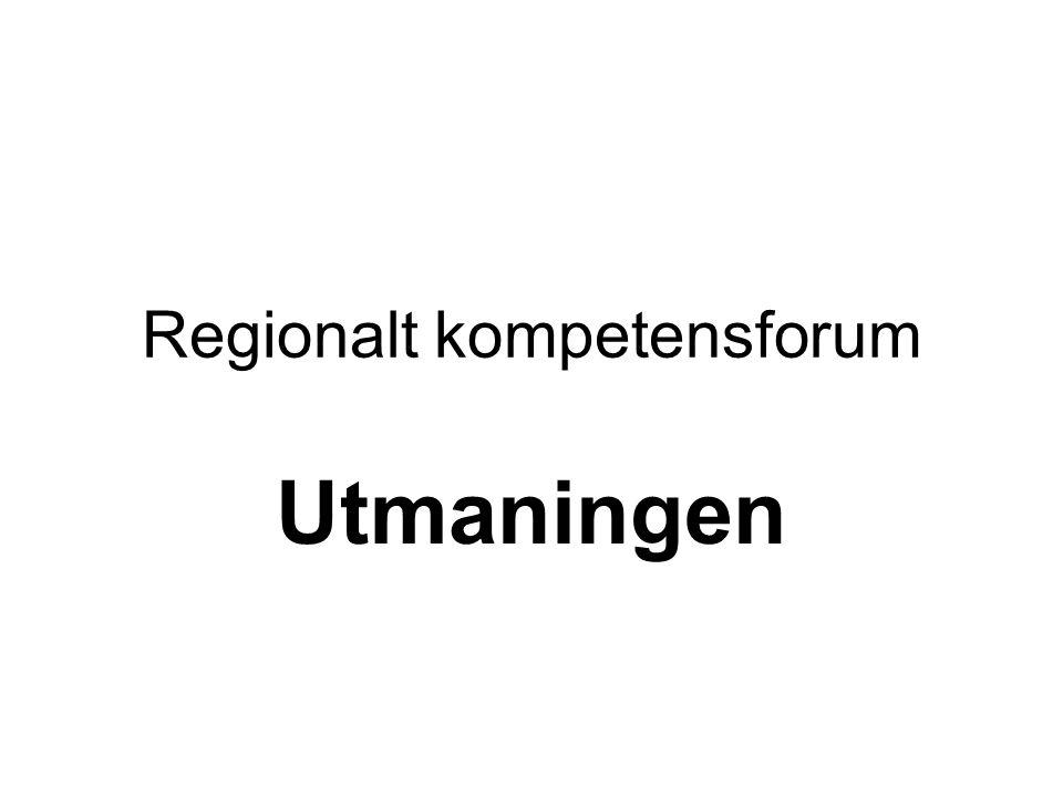 Regionalt Kompetensforum Syfte Regionalt kompetensforum ska verka för att säkerställa kompetensförsörjningen i regionen genom att arbeta med sex S