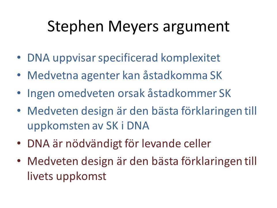 Stephen Meyers argument • DNA uppvisar specificerad komplexitet • Medvetna agenter kan åstadkomma SK • Ingen omedveten orsak åstadkommer SK • Medveten
