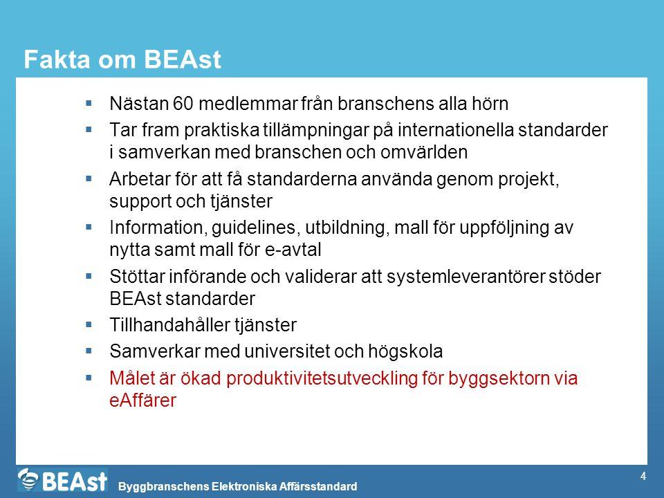 Byggbranschens Elektroniska Affärsstandard 4 Fakta om BEAst  Nästan 60 medlemmar från branschens alla hörn  Tar fram praktiska tillämpningar på inte