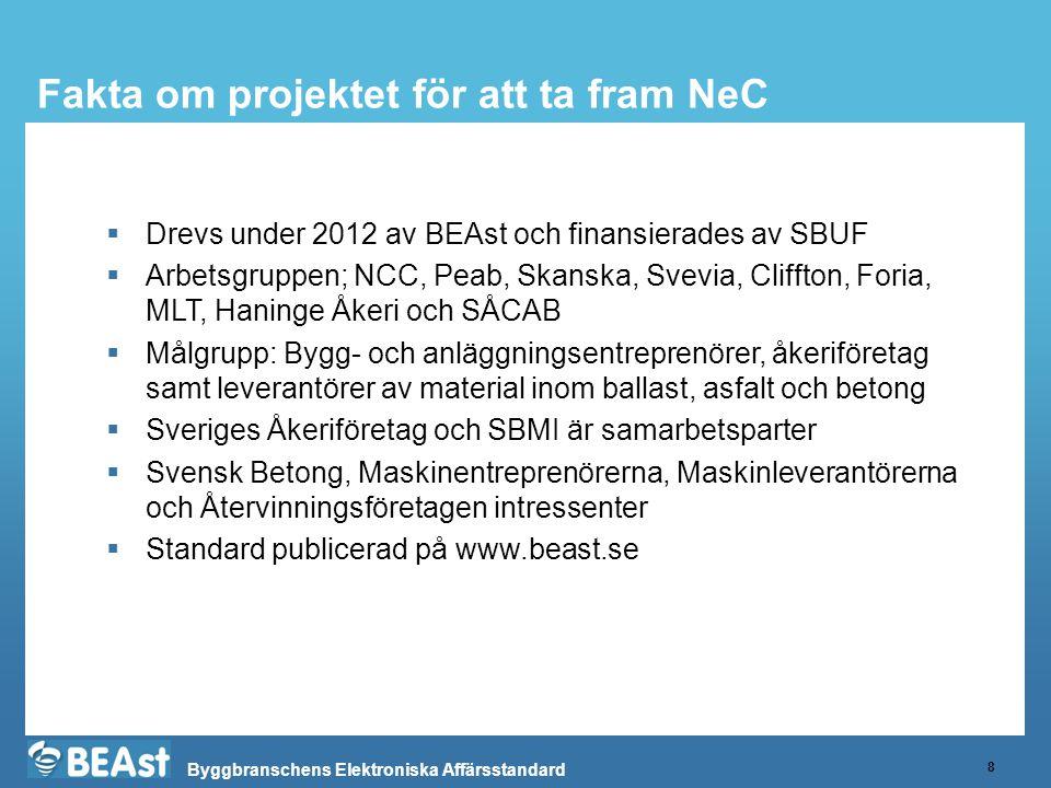 Byggbranschens Elektroniska Affärsstandard Fakta om projektet för att ta fram NeC 8  Drevs under 2012 av BEAst och finansierades av SBUF  Arbetsgrup