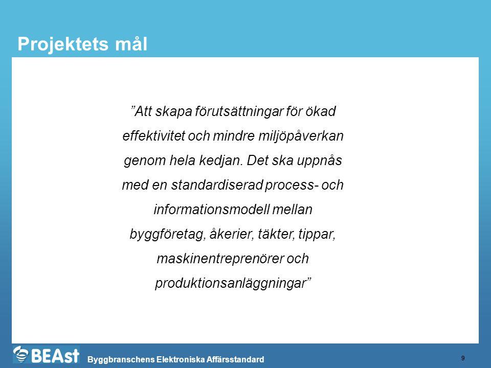 """Byggbranschens Elektroniska Affärsstandard Projektets mål 9 """"Att skapa förutsättningar för ökad effektivitet och mindre miljöpåverkan genom hela kedja"""