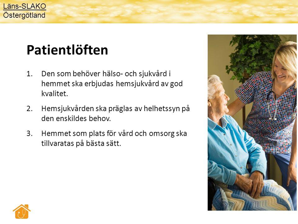 Varje hemsjukvårdspatient ska få • En dokumenterad individuell vård-/ rehabiliteringsplan • Namngiven ansvarig sjuksköterska/arbetsterapeut/sjukgymnast • Namngiven ansvarig läkare • Minst årlig läkemedelsgenomgång Läns-SLAKO Östergötland