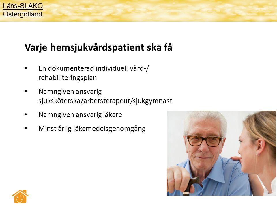 Varje hemsjukvårdspatient ska få • En dokumenterad individuell vård-/ rehabiliteringsplan • Namngiven ansvarig sjuksköterska/arbetsterapeut/sjukgymnas
