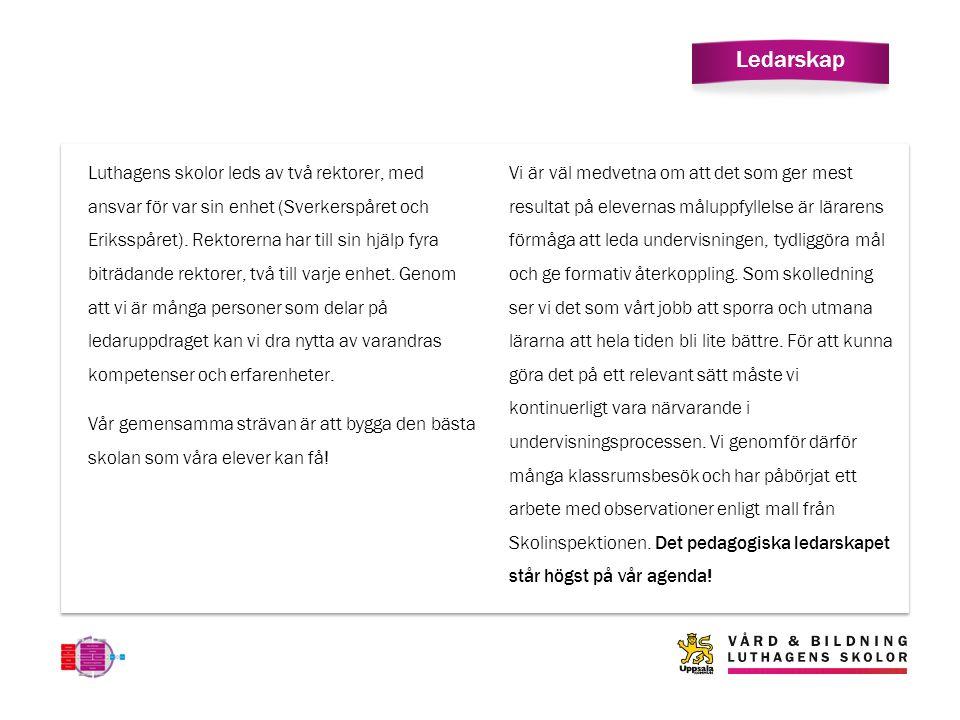 Ledarskap Luthagens skolor leds av två rektorer, med ansvar för var sin enhet (Sverkerspåret och Eriksspåret).