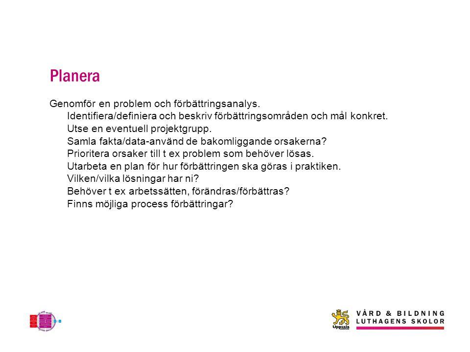 Planera Genomför en problem och förbättringsanalys.