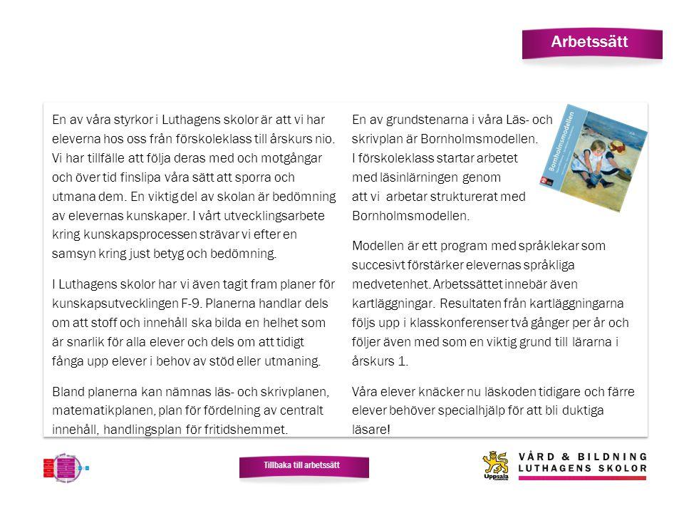 Arbetssätt En av våra styrkor i Luthagens skolor är att vi har eleverna hos oss från förskoleklass till årskurs nio. Vi har tillfälle att följa deras