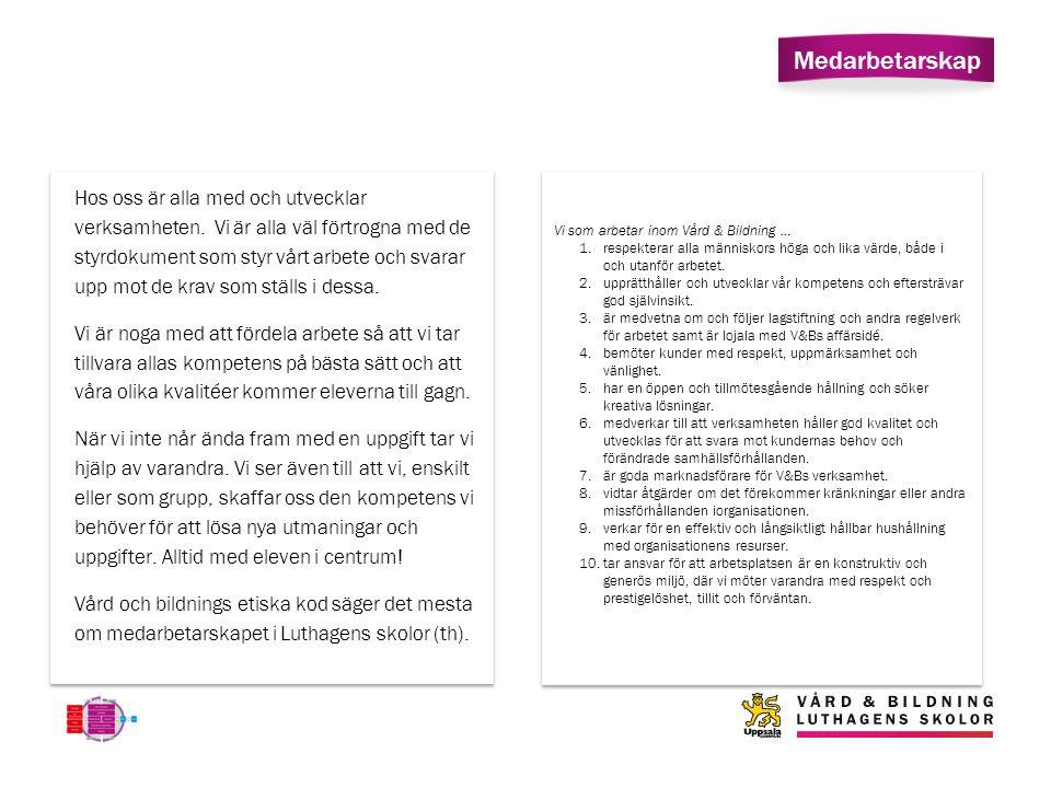 Medarbetarskap Vi som arbetar inom Vård & Bildning … 1.respekterar alla människors höga och lika värde, både i och utanför arbetet.