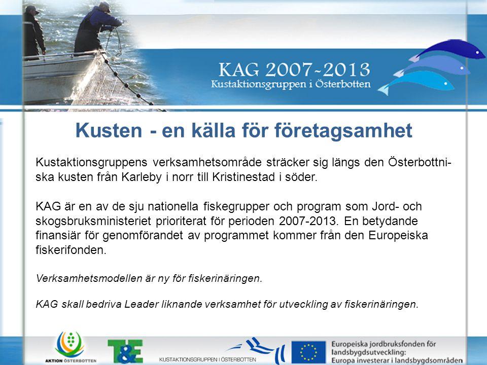 Kusten - en källa för företagsamhet Kustaktionsgruppens verksamhetsområde sträcker sig längs den Österbottni- ska kusten från Karleby i norr till Kristinestad i söder.