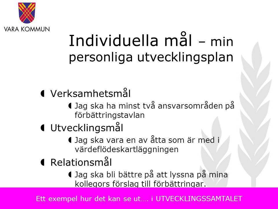 Individuella mål – min personliga utvecklingsplan  Verksamhetsmål  Jag ska ha minst två ansvarsområden på förbättringstavlan  Utvecklingsmål  Jag