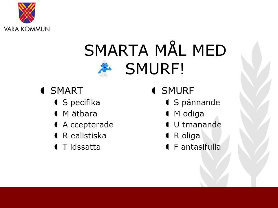 SMARTA MÅL MED SMURF!  SMART  S pecifika  M ätbara  A ccepterade  R ealistiska  T idssatta  SMURF  S pännande  M odiga  U tmanande  R oliga