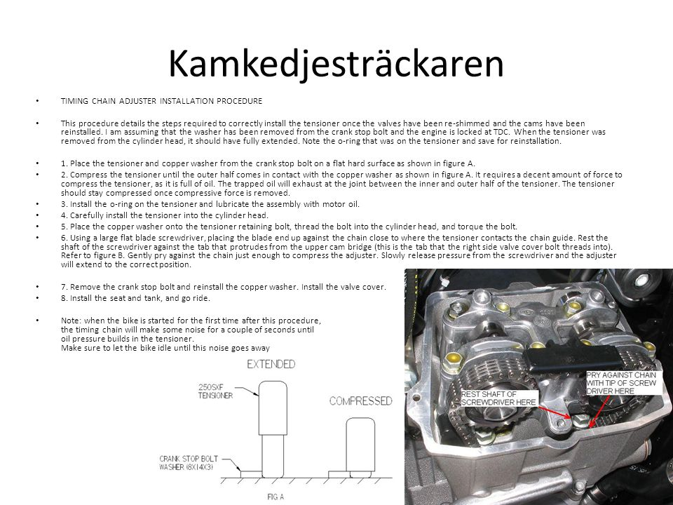 Användbara länkar • KTM RFS top end rebuild (fram till 2006): http://www.youtube.com/watch?v=G6lFFXk_ btY http://www.youtube.com/watch?v=G6lFFXk_ btY • KTM 250 engine rebuild: http://www.youtube.com/watch?v=TQUlkcwH -sg http://www.youtube.com/watch?v=TQUlkcwH -sg
