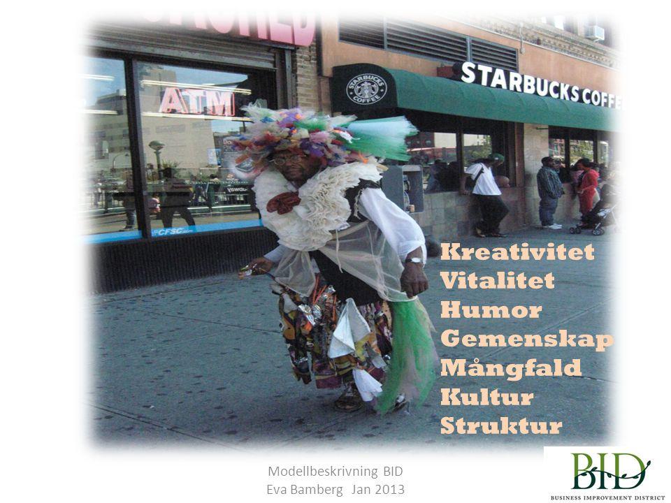 Modellbeskrivning BID Eva Bamberg Jan 2013 Kreativitet Vitalitet Humor Gemenskap Mångfald Kultur Struktur
