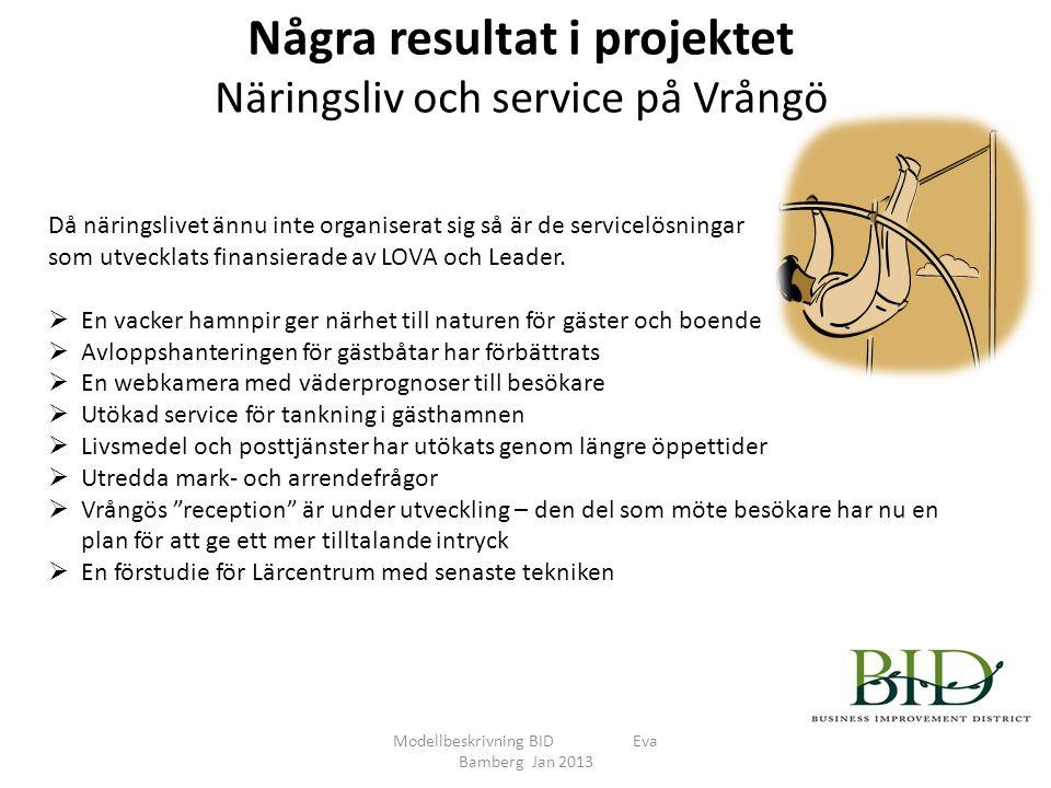 Några resultat i projektet Näringsliv och service på Vrångö Modellbeskrivning BID Eva Bamberg Jan 2013 Då näringslivet ännu inte organiserat sig så är de servicelösningar som utvecklats finansierade av LOVA och Leader.