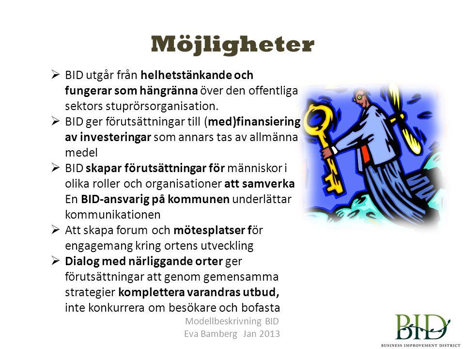 Möjligheter Modellbeskrivning BID Eva Bamberg Jan 2013  BID utgår från helhetstänkande och fungerar som hängränna över den offentliga sektors stuprörsorganisation.