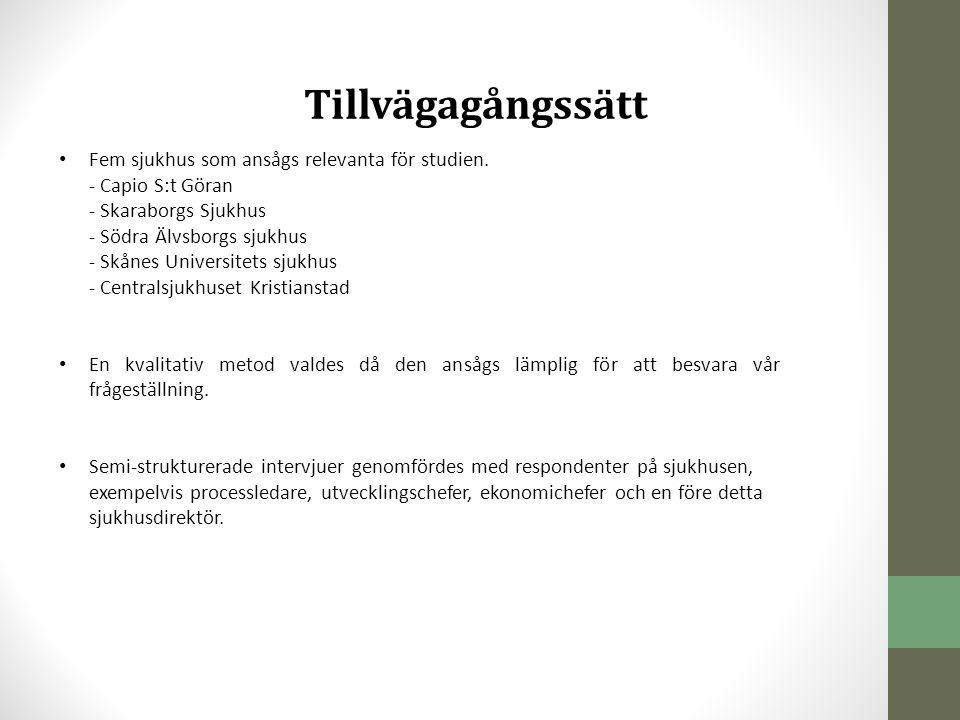 Tillvägagångssätt • Fem sjukhus som ansågs relevanta för studien. - Capio S:t Göran - Skaraborgs Sjukhus - Södra Älvsborgs sjukhus - Skånes Universite