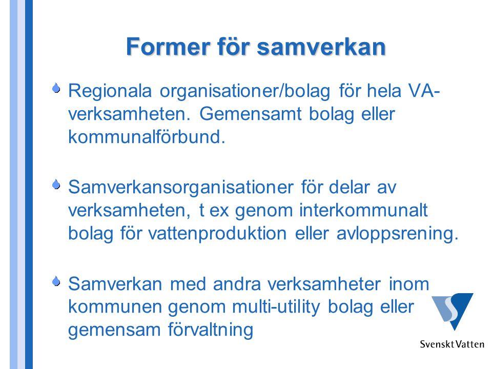 Former för samverkan Regionala organisationer/bolag för hela VA- verksamheten. Gemensamt bolag eller kommunalförbund. Samverkansorganisationer för del