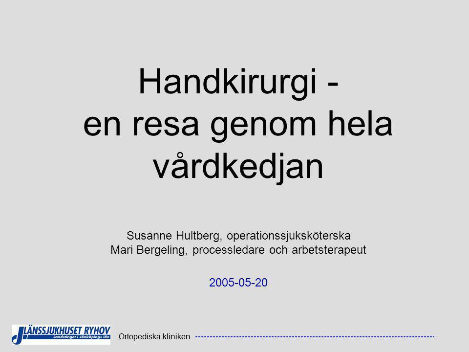 Ortopediska kliniken Handkirurgi - en resa genom hela vårdkedjan Susanne Hultberg, operationssjuksköterska Mari Bergeling, processledare och arbetsterapeut 2005-05-20 Ortopediska kliniken