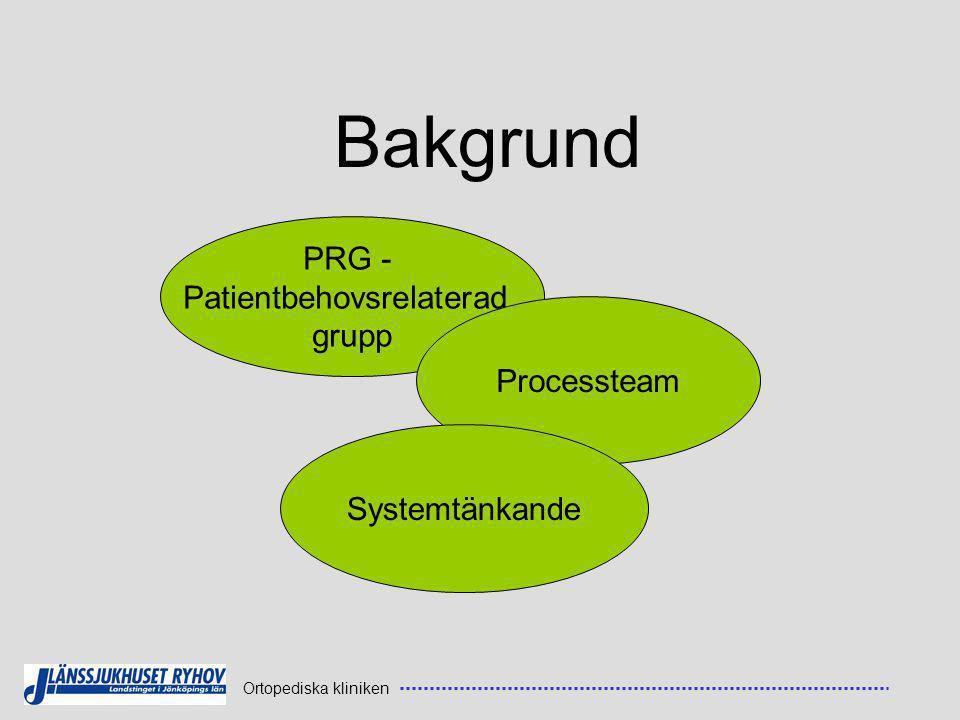 Bakgrund PRG - Patientbehovsrelaterad grupp Processteam Systemtänkande