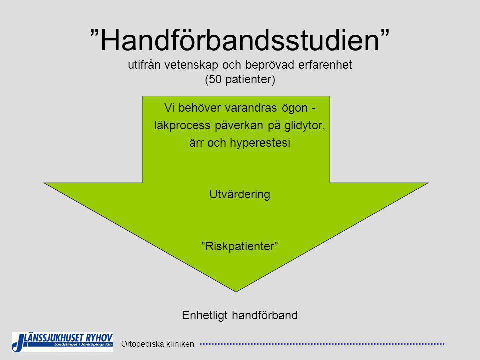 Ortopediska kliniken Handförbandsstudien utifrån vetenskap och beprövad erfarenhet (50 patienter) Vi behöver varandras ögon - läkprocess påverkan på glidytor, ärr och hyperestesi Utvärdering Riskpatienter Enhetligt handförband