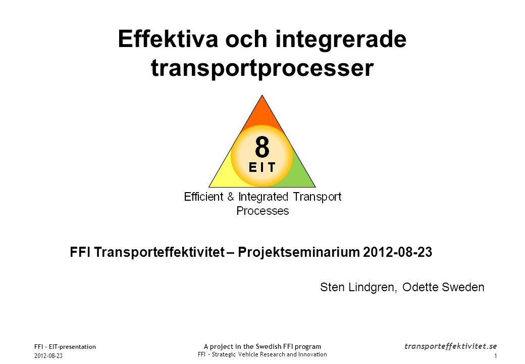 A project in the Swedish FFI program FFI – Strategic Vehicle Research and Innovation transporteffektivitet.se FFI Transporteffektivitet – Projektsemin