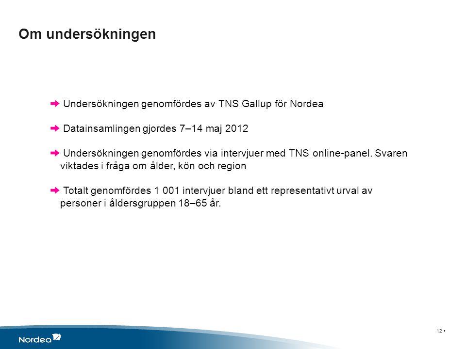 Om undersökningen 12 • Undersökningen genomfördes av TNS Gallup för Nordea Datainsamlingen gjordes 7–14 maj 2012 Undersökningen genomfördes via intervjuer med TNS online-panel.