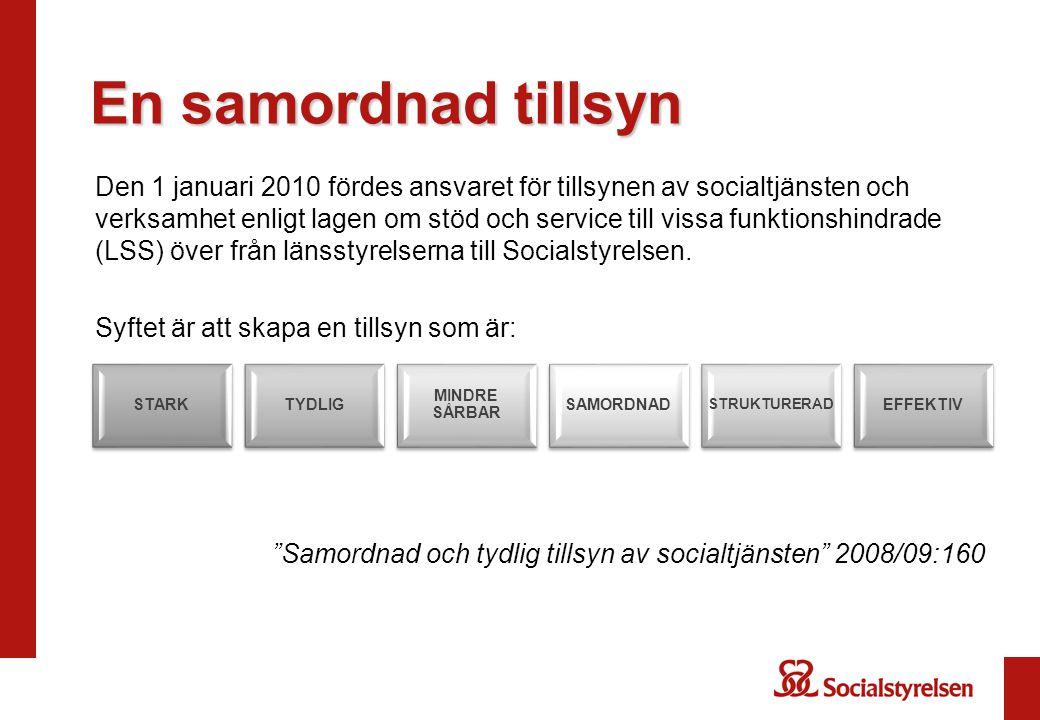 En samordnad tillsyn Den 1 januari 2010 fördes ansvaret för tillsynen av socialtjänsten och verksamhet enligt lagen om stöd och service till vissa funktionshindrade (LSS) över från länsstyrelserna till Socialstyrelsen.