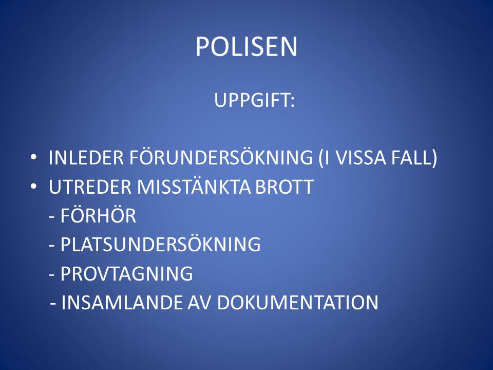 POLISEN UPPGIFT: • INLEDER FÖRUNDERSÖKNING (I VISSA FALL) • UTREDER MISSTÄNKTA BROTT - FÖRHÖR - PLATSUNDERSÖKNING - PROVTAGNING - INSAMLANDE AV DOKUME
