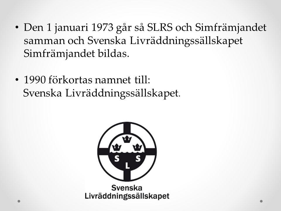 • Den 1 januari 1973 går så SLRS och Simfrämjandet samman och Svenska Livräddningssällskapet Simfrämjandet bildas. • 1990 förkortas namnet till: Svens