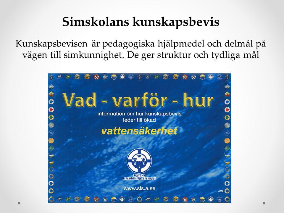 Simskolans kunskapsbevis Kunskapsbevisen är pedagogiska hjälpmedel och delmål på vägen till simkunnighet. De ger struktur och tydliga mål
