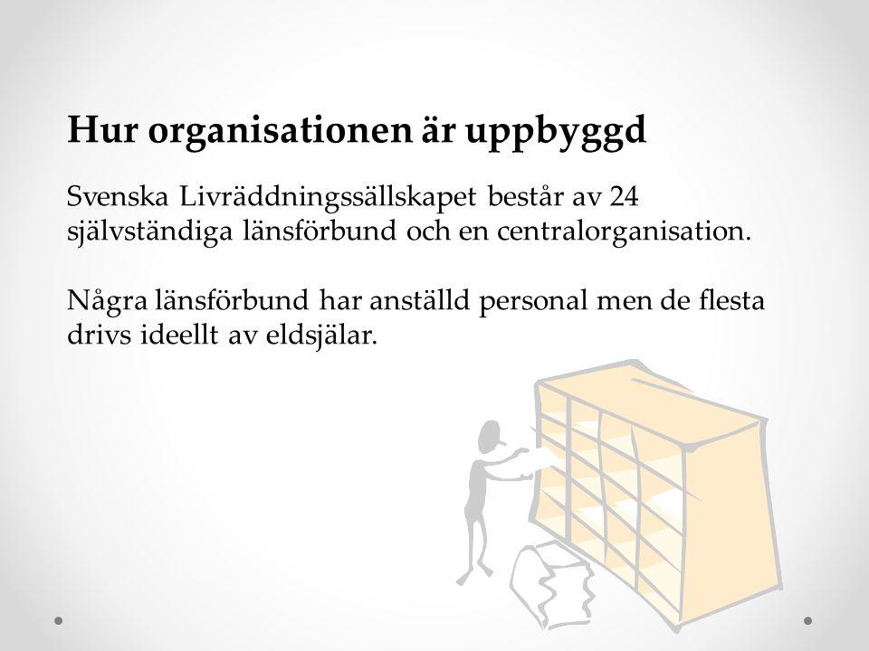 Hur organisationen är uppbyggd Svenska Livräddningssällskapet består av 24 självständiga länsförbund och en centralorganisation. Några länsförbund har