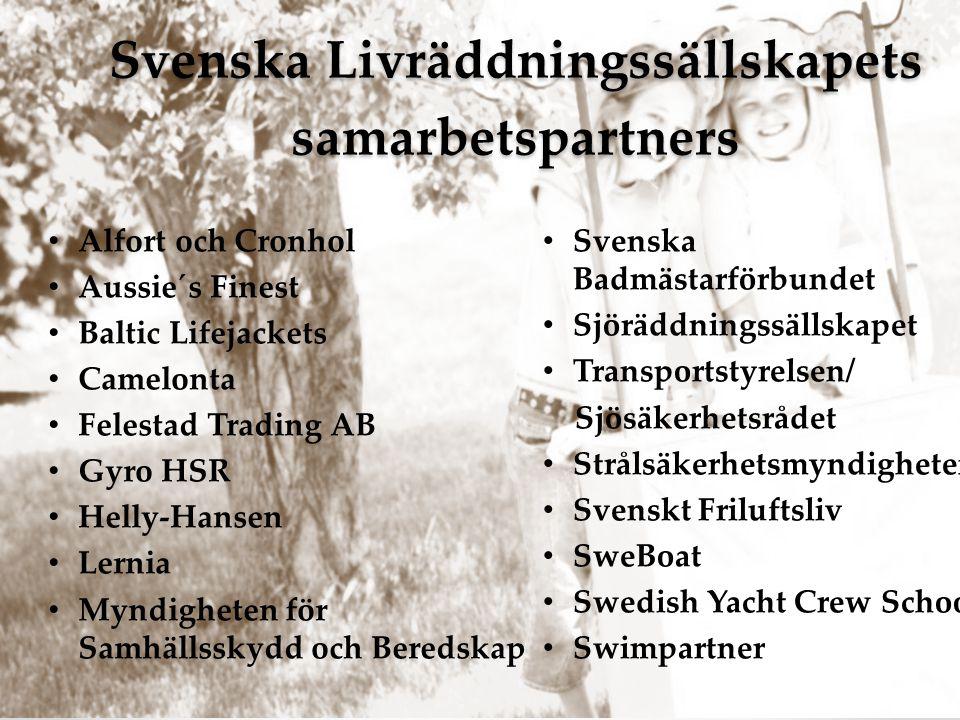 Svenska Livräddningssällskapets samarbetspartners Svenska Livräddningssällskapets samarbetspartners • Svenska Badmästarförbundet • Sjöräddningssällska