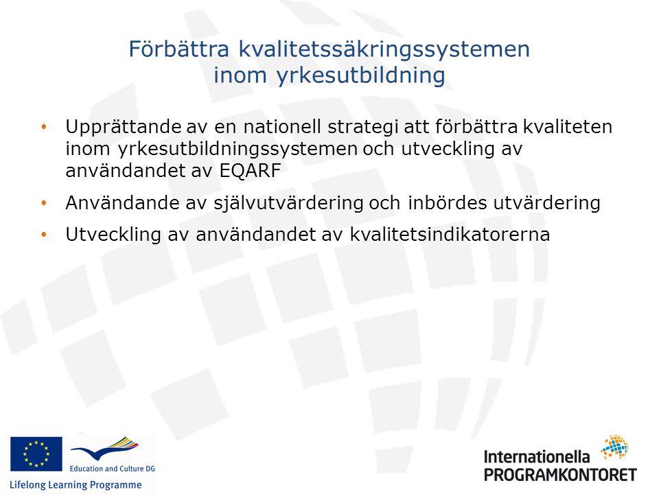 • Upprättande av en nationell strategi att förbättra kvaliteten inom yrkesutbildningssystemen och utveckling av användandet av EQARF • Användande av självutvärdering och inbördes utvärdering • Utveckling av användandet av kvalitetsindikatorerna Förbättra kvalitetssäkringssystemen inom yrkesutbildning
