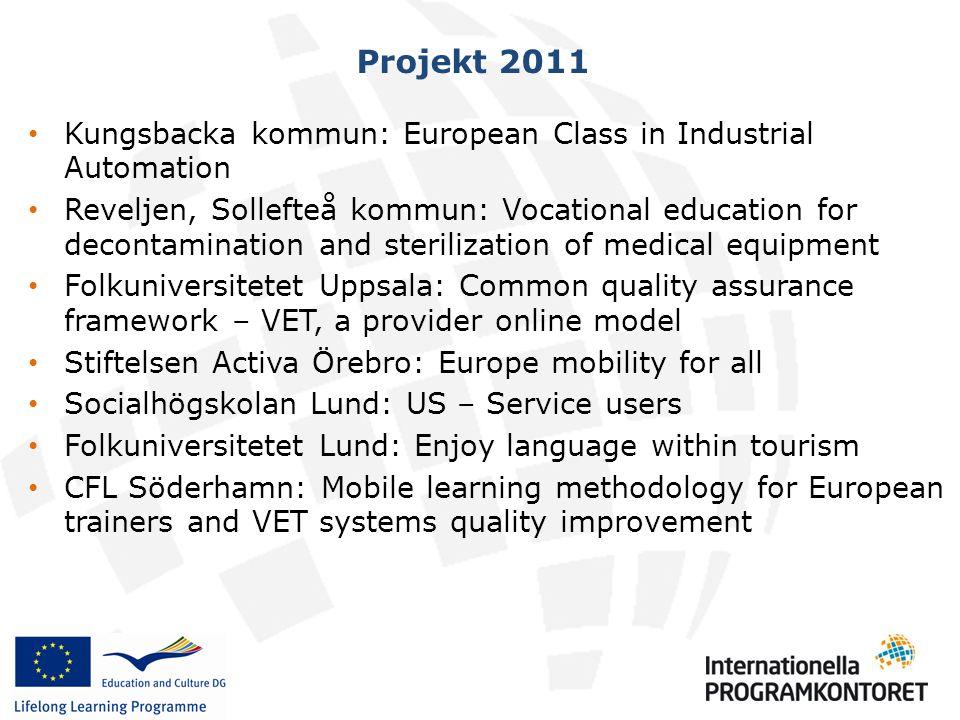 Projekt 2011 • Kungsbacka kommun: European Class in Industrial Automation • Reveljen, Sollefteå kommun: Vocational education for decontamination and s
