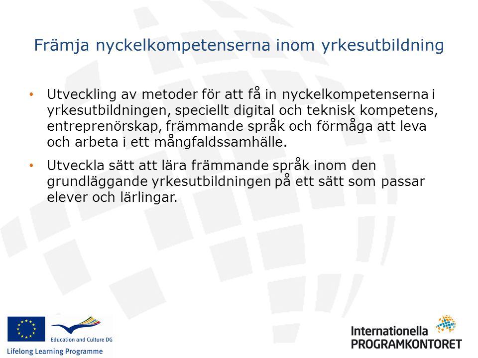 • Vidareutveckla metoder som stöder mobilitet inom yrkesutbildningen, speciellt deltagande av SMEs och praktikplatser.