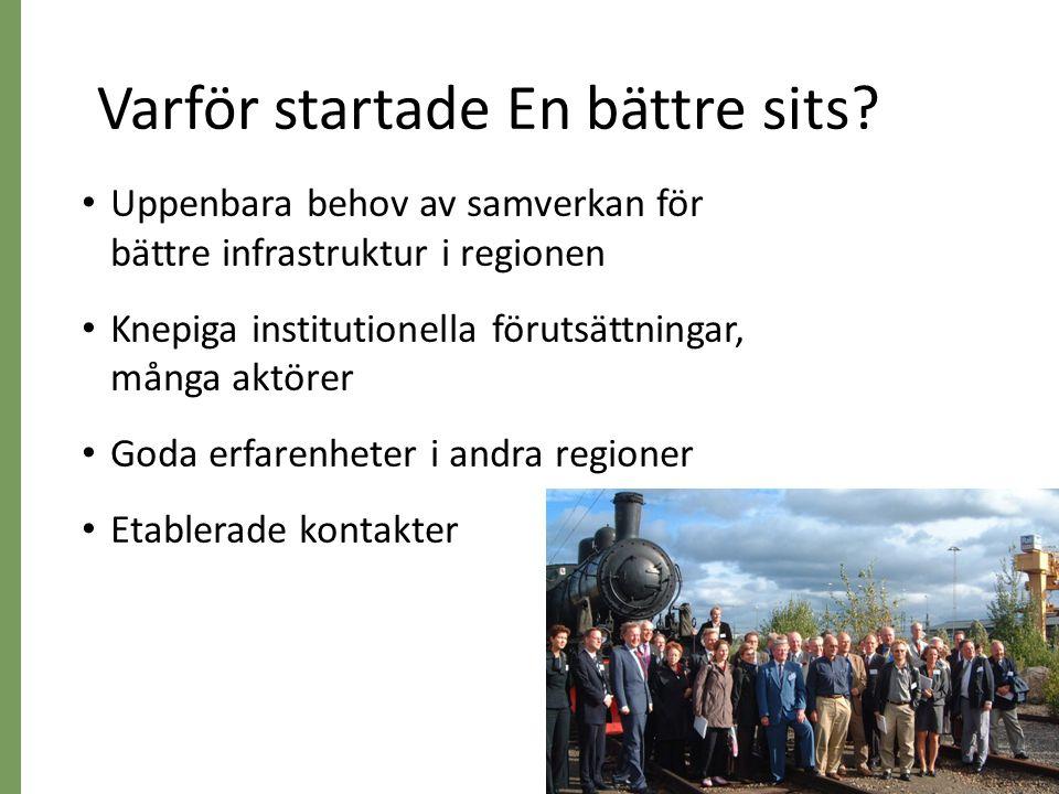 5 • 3 Regionförbund • 5 Landsting • 5 Länsstyrelser • 65 Kommuner (genom Mälardalsrådet) • 5 Grannlän • MÄLAB (representerar trafikhuvudmännen) • Trafikverket • Sjöfartsverket • Swedavia Arlanda/Bromma • Regionplanekontoret SLL • SL • Mälardalsrådet Många aktörer – ingen ensam ägare