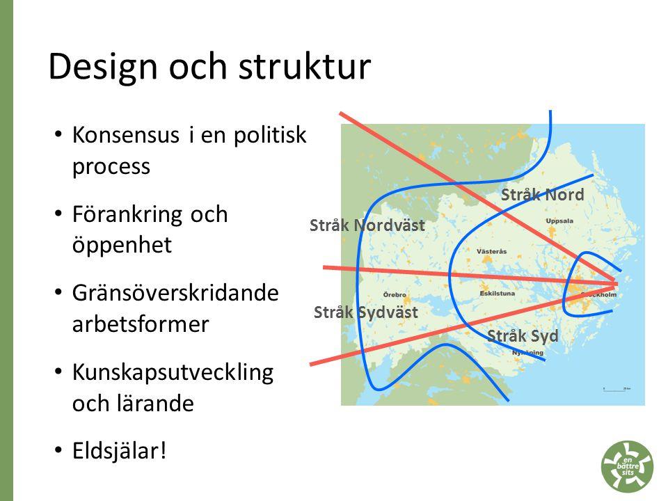 Design och struktur • Konsensus i en politisk process • Förankring och öppenhet • Gränsöverskridande arbetsformer • Kunskapsutveckling och lärande • Eldsjälar.