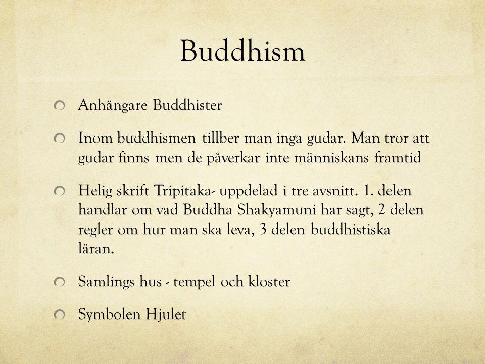Buddhism Anhängare Buddhister Inom buddhismen tillber man inga gudar. Man tror att gudar finns men de påverkar inte människans framtid Helig skrift Tr