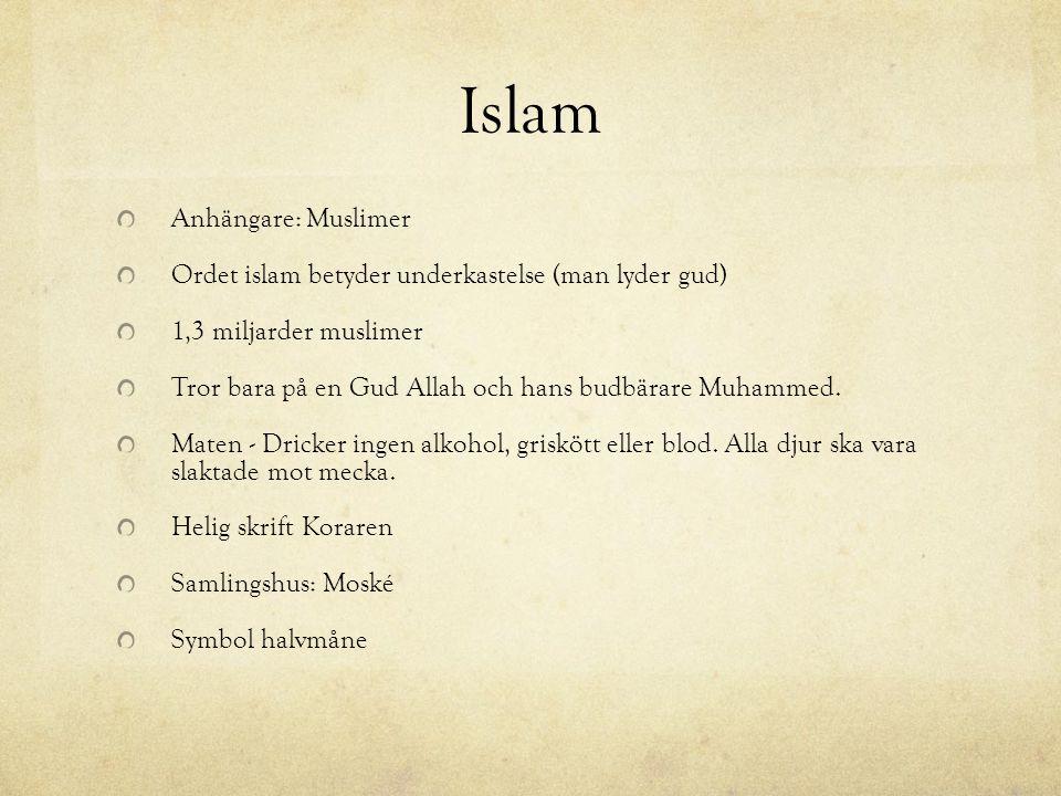 Islam Anhängare: Muslimer Ordet islam betyder underkastelse (man lyder gud) 1,3 miljarder muslimer Tror bara på en Gud Allah och hans budbärare Muhamm