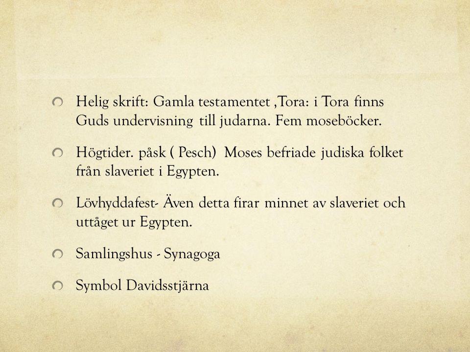 Helig skrift: Gamla testamentet,Tora: i Tora finns Guds undervisning till judarna. Fem moseböcker. Högtider. påsk ( Pesch) Moses befriade judiska folk