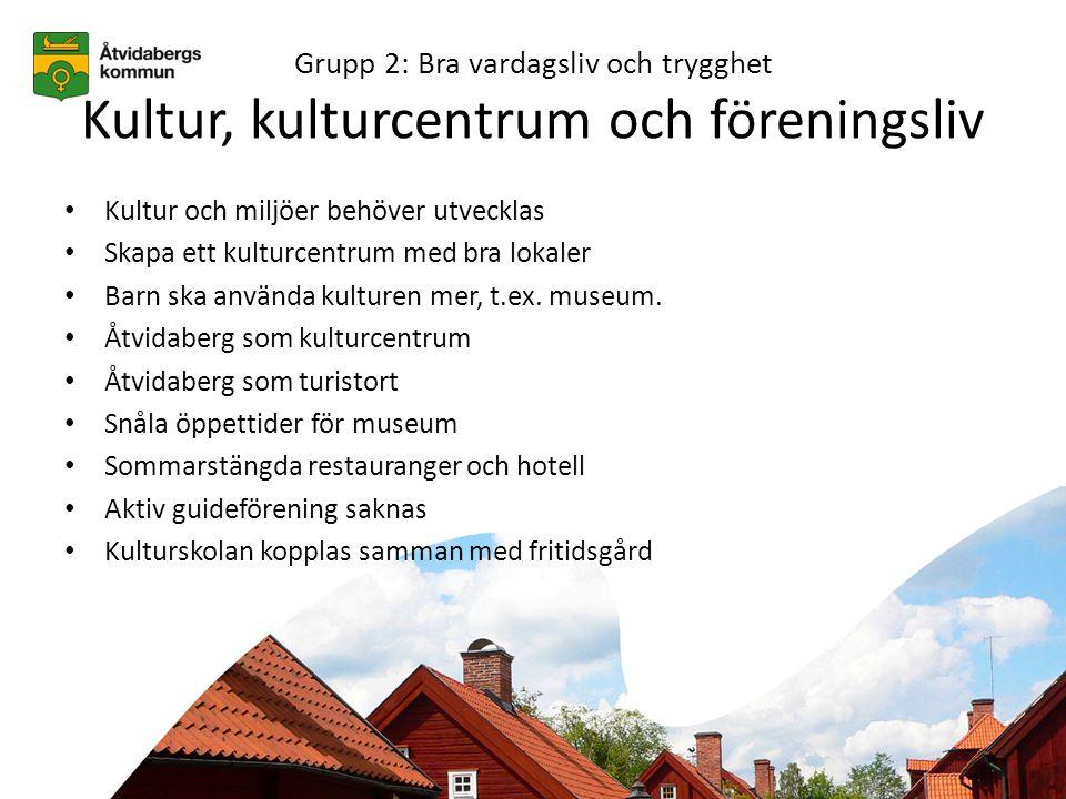 Grupp 2: Bra vardagsliv och trygghet Kultur, kulturcentrum och föreningsliv • Kultur och miljöer behöver utvecklas • Skapa ett kulturcentrum med bra lokaler • Barn ska använda kulturen mer, t.ex.