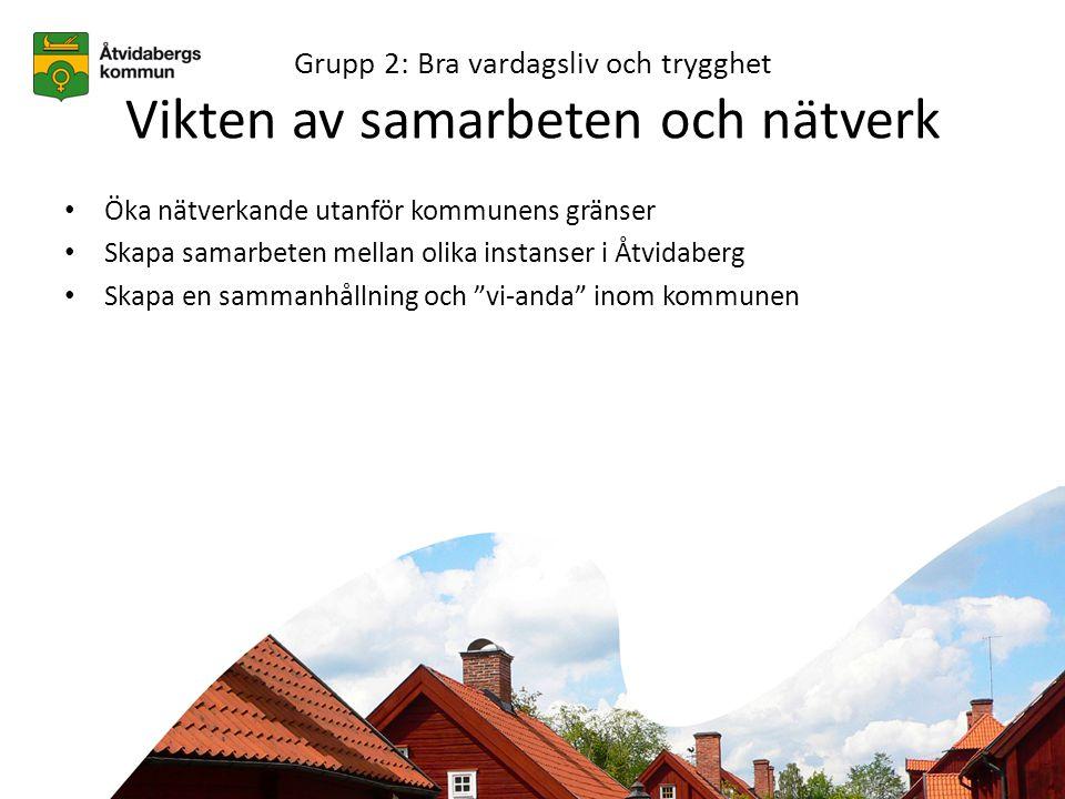 Grupp 2: Bra vardagsliv och trygghet Vikten av samarbeten och nätverk • Öka nätverkande utanför kommunens gränser • Skapa samarbeten mellan olika instanser i Åtvidaberg • Skapa en sammanhållning och vi-anda inom kommunen