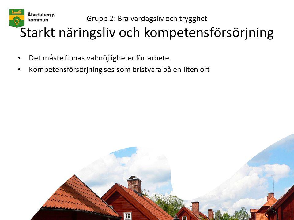 Grupp 2: Bra vardagsliv och trygghet Starkt näringsliv och kompetensförsörjning • Det måste finnas valmöjligheter för arbete.