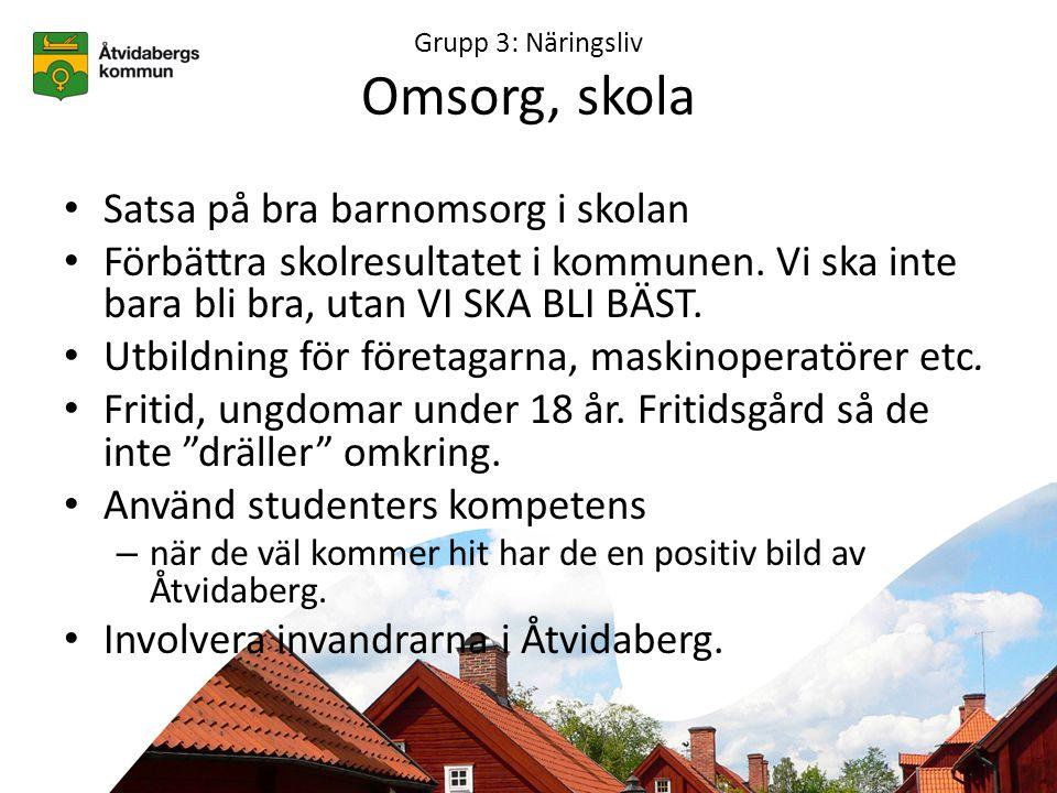 Grupp 3: Näringsliv Omsorg, skola • Satsa på bra barnomsorg i skolan • Förbättra skolresultatet i kommunen.