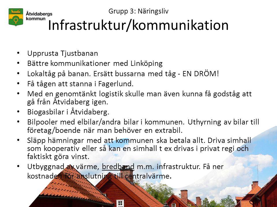 Grupp 3: Näringsliv Infrastruktur/kommunikation • Upprusta Tjustbanan • Bättre kommunikationer med Linköping • Lokaltåg på banan.