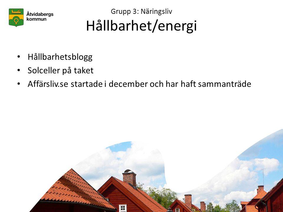 Grupp 3: Näringsliv Hållbarhet/energi • Hållbarhetsblogg • Solceller på taket • Affärsliv.se startade i december och har haft sammanträde