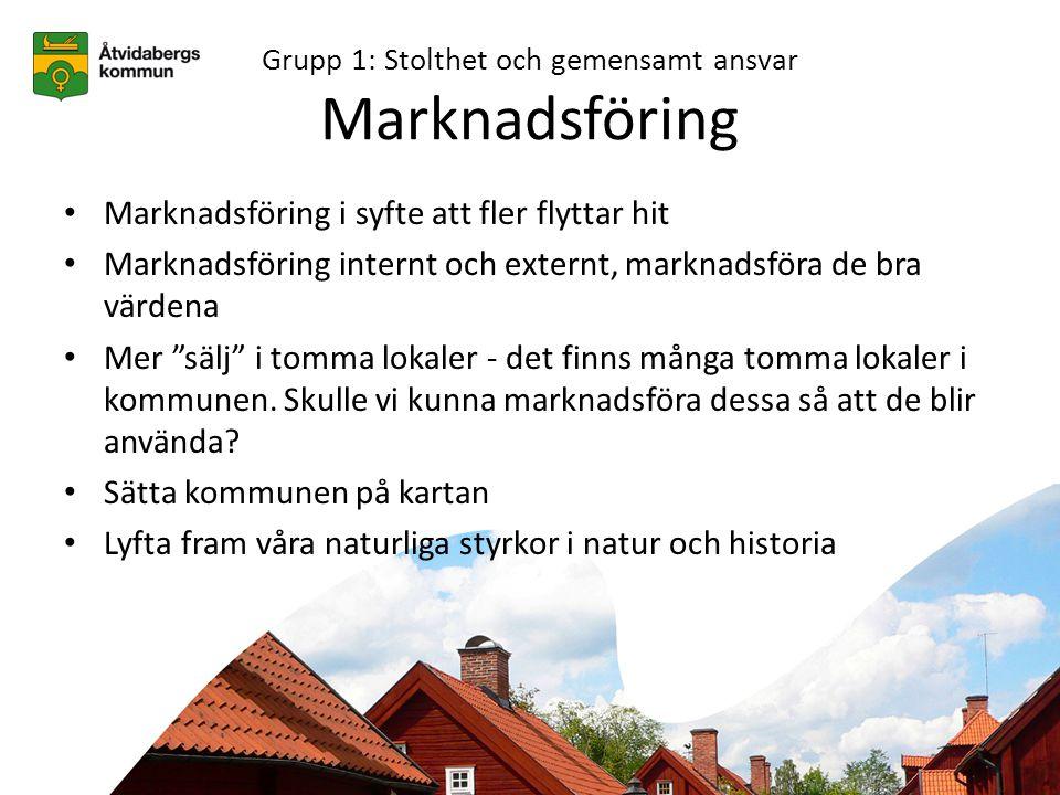 Grupp 1: Stolthet och gemensamt ansvar Snabbare kommunikation • Riksväg 35 ska vara bättre, säkrare och snabbare • Kortare tid till Linköping - 35an bör bli snabbare • Lägg ner järnvägen och använd pengarna till vägen • Förbindelse väg
